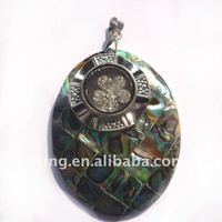 Fashion big natural abalone shell and crystal flower Necklace Pendent