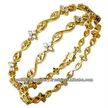 Yellow gold diamond bangle for women, 18k solid real gold diamonds bangle, Gold bangle with diamonds