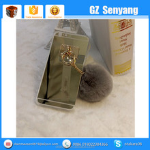 2016 Popular Plush Ball TPU Mirror Cover for iphone 6 6 Plus Phone Case