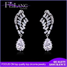 Latest Style Feather & Wings Earring Top Quality Cubic Zirconia Fashion Drop Earring Jewelry