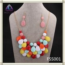 Beads Jewelry Wholesale Teardrop Bib Necklace Earring Sets