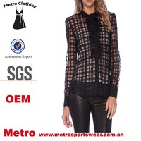 custom new style ladies shirts tie neck black sheer shirt