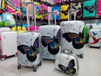 4 pieces set cheap price good quality PC luggage set with 12/14inch beauty case in baigou factory for turkey UAE market