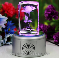 2015 new products K9 glass cube gift 3d laser engraved crystal rose