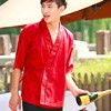 2015 Restaurant Hotel Kimono Chef Coats Jackets Uniform Black Red Wine Color Unisex