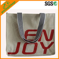 eco friendly jute shopping tote bag with cotton canvas handle (PRA-824)