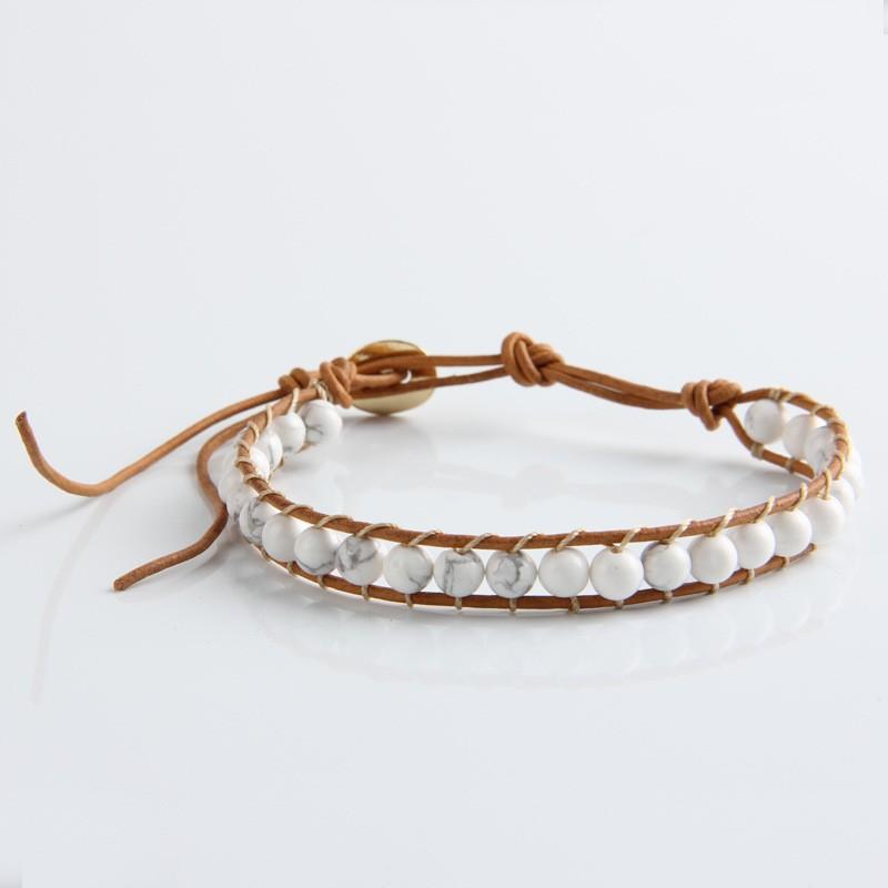 1 Strands кожи белый бирюза 6 мм бусины обертывание браслет для женщин и мужчин ручной работы браслеты дружбы подарок ювелирных изделий