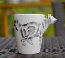 Good Sale Cat 3D hand painted ceramic coffee mug 14 ounce