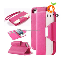 Factory wholesale wallet case strap and flap closure PU leather case stand protective cover