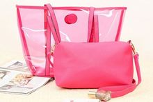 Strong large 0.7mm transparent pvc beach tote bag with PU pouch set