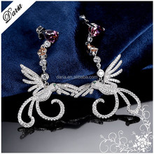 DLY Lucky Birds Wholesale Cute Animal Shape Silver Flying Bird Earring