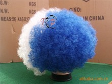 White and Blue Greece Sports Football Fan Wigs Afro Soccor Fan Wigs for Supporting Team