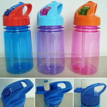 350ml plastic kids water bottle with pop up straw and carabiner top