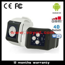 waterproof Android watch phone dual core 1.2GHz Android 4.0 GSM Smart phone watch with touch screen wifi