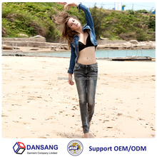 jeans supplier in china dark grey color slim stretch jeans pants for women 2015