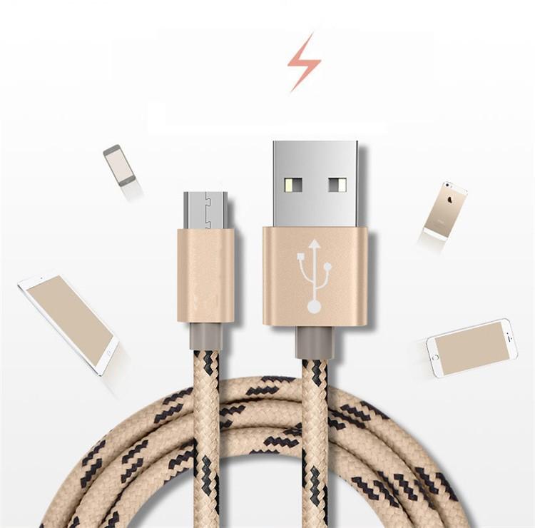 Фабрика Питания скорость micro usb кабель текстильная шнур алюминиевая вилка прочный micro usb кабель с низкой ценой