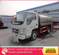 Foton forland 4x2 small tanker transport stainless steel truck milk tank