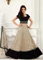 Latest Designer Beige Net Sequins Work Long Anarkali Suit