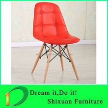 Wood legs leather dining wood chair