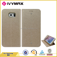 New products leather flip case for Samsung Galaxy S6 wallet case made in China