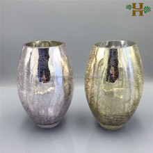 Hand blown silver plating crackle glass vases for wedding decoration
