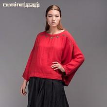 Outline original design long sleeve t-shirt red blouse women casual tops