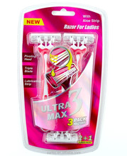 Tripe Blades Razor with 3 4 5 6 Lubricating Strip and Super Rubber Handle 3 in Blister Card Red Color
