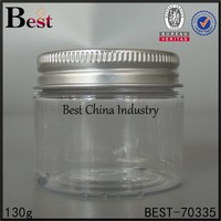 clear round recycled plastic cosmetic jar empty