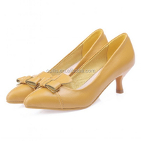 Comfortable lady shoes genuine leather low heel pumps beautiful bowknot design stiletto low heel office dress shoes CP6683