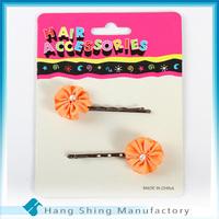 girls fancy top ribbon flowers bulk bobby pins