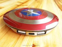 Newcay aluminium alloy captain american shield mobile power bank 6800mah portable phone charger