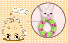 Crochet Baby bunny Rattle Cotton,white rabbit plush toy ring