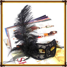 Black Ostrich Feather Lace Masquerade Mask