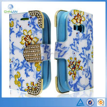 Elegant Flower Pattern With Luxury Diamond Button Clip Leather Case for Galaxy Star Pro S7262 With Business Card Holder