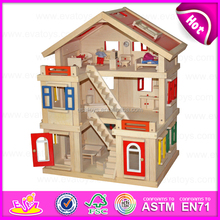 2015 New wooden toy doll house for kids,Child Wooden Assembling Assembles Doll House,DIY barbie doll house toy wholesale W06A110