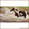 Hechos a mano caliente de la venta de caballos racing pintura al óleo de caballos fuertes para el regalo