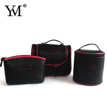 Luxury fashion black PU ladys professional makeup bag easy to carry