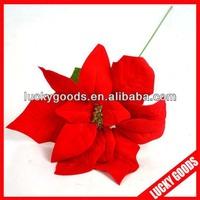 Artificial red velvet single poinsettia flower wholesale