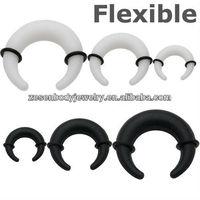 Flexible silicone custom cresent ear plug gauges body piercing jewelry