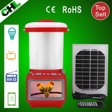 2015 High quality CHL solar led lantern with tv, fm raido and charger