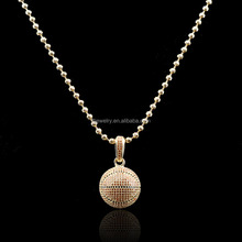 14k Gold Plated CZ Setting Basketball pendant Necklace