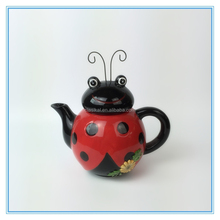 Beetle Shape Ceramic Tea Pot Canister Hand Print