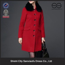 New 2016 Latest Lady Wool Coat Design, Wholesale Cheap Winter Fashion Red Long Woolen Coat Women With Fur Collar