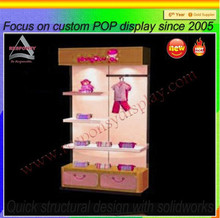 wooden flooring shopping mall children clothing display rack