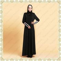 Transend 16106 High quality musllim women wear stones work dubai kaftan abaya