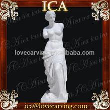 Jardín Bello famoso tallado mano de la señora estatua de mármol blanco