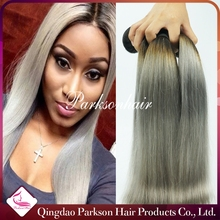 7A Ombre Best Quality Virgin Hair Extensions 3 Pcs/Lot Sliky Straight Two Tone Color #1b/Silver Grey Ombre Human Hair Weaves