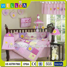 Cute appliqued pink baby bedding set