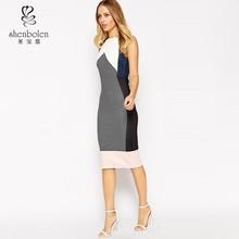 2015 Fashion sleeveless stripe and colour block women bodycon dress