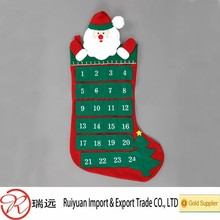 2015 New products fashion stocking shaped felt advent calendar made in China